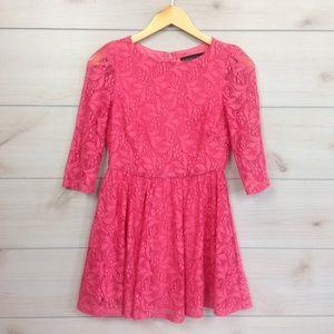 Topshop Petite Pink Lace 3/4 Sleeve Mini Dress 2